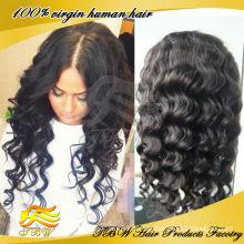 Сделано в Китае 100% Виргинские бразильского волос glueless шелковый топ полный парик шнурка волнистые