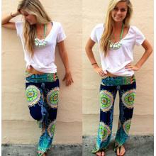2015 Femmes À la mode à la taille moyenne Printed Flowers Casual Pants (50660)