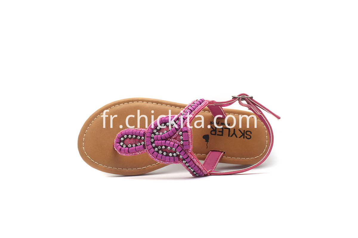Colourful Beads Children Flat Sandals