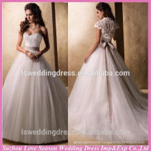WD1163 Graceful cap sleeve lace bridal jacket sweetheart neck lace appliqued detachable sash aline tulle wedding dress lace