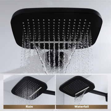 Bathroom Rain and Waterfall Black Thermostatic Shower Faucet