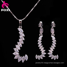 Unique White AAA Marquise Stone Long Pendant Earring Jewelry Set