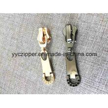 Oro pistola de color de chapa deslizante de cremallera de metal para OEM Orden