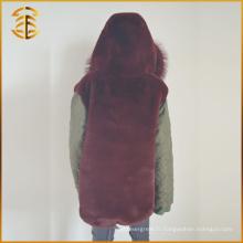 Nouveau style Custom Cheap Designs Long Trench Fox Fur Coat Parka