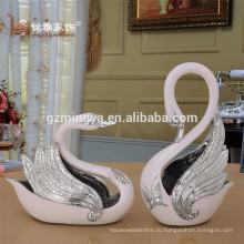 Большой романтический ручной росписью жидким золотом жениться на пару Лебедь Лебедь фигурка статуи Свадебные украшения Смолаы скульптуры животных