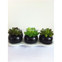 2014 cheap Artificial succulent plants plastic plants with dark ceramic pot
