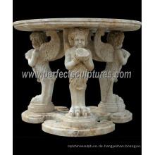Geschnitzte Stein Marmortisch für antike Hausdekoration (QTB046)