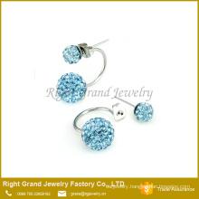 Stainless steel Crystal Clay Paved Stud Earrings