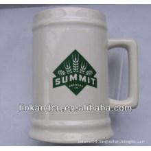 Haonai exported 23oz white ceramic stein beer mug with logo