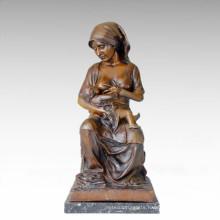 Eastern Life Statue Figure Mother-Son Bronze Sculpture TPE-108