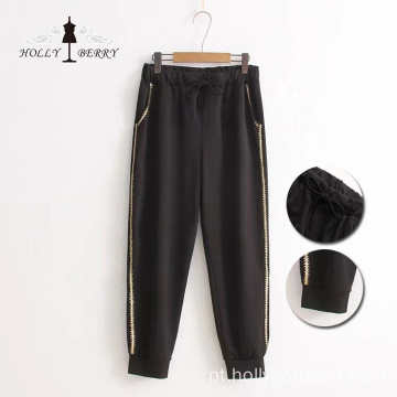 Elastic Straight Stripe Loose Ladies Slacks Sport Pants