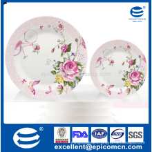 garden series pink rosy blossom on trunk pattern decorated porcelain compote plates set