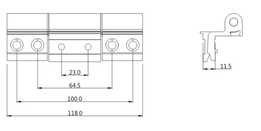 Adjustable Big Weight Capacity Door Hinge Drawing