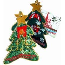 Fabric X′mas Tree - Stand Embroidered Cards