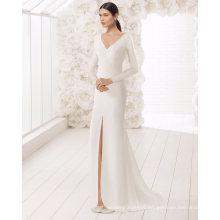Long Sleeve V Neck Front Split Satin Wedding Dress