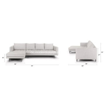 Parker Coconut White Fabric Links Anbausofa