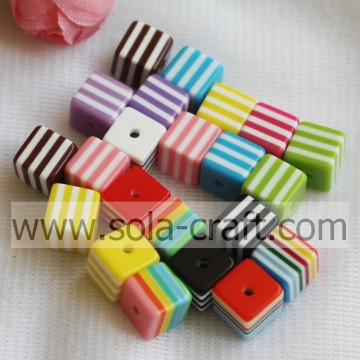 Factory Wholesale Cube Shape Striped Resin Spacer Beads