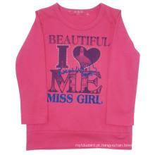 T-shirt da menina das crianças da mola na roupa dos miúdos
