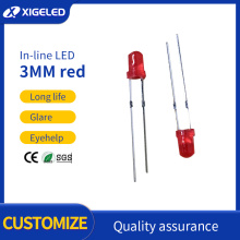 Cuentas de lámpara de alta potencia de pie corto rojo-rojo-rojo de 3 mm