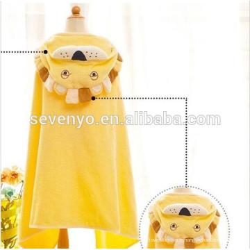 Garçons ou filles serviette de bain à capuchon 100% coton utiliser pour bain, plage, piscine (mignon Lion-L)