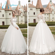 Lace Pleat Button Tulle Satin Lace Wedding Dress Bridal Ball Gown
