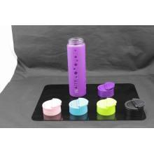 Bouteille d'eau en verre de 20 oz avec doublure en PP en silicone