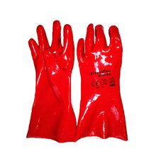 China Chemical Resistant Long Sleeve Cotton Interlock Red PVC Coated Gloves with EN388:4121X