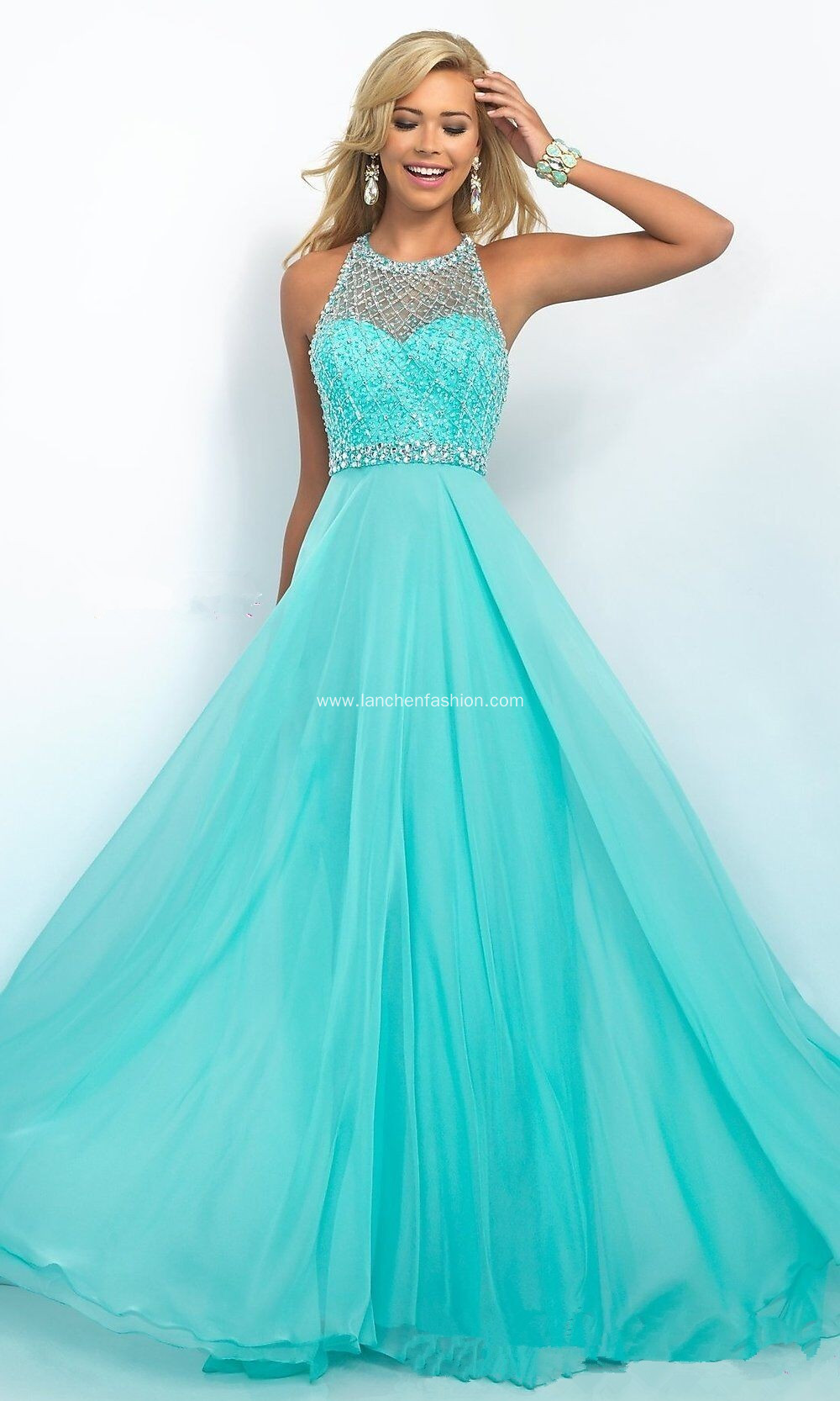 Aqua Illusion Beaded Prom Dress