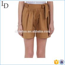Stretch-Cotton Belted shorts para mujer al por mayor estilo casual boy shorts