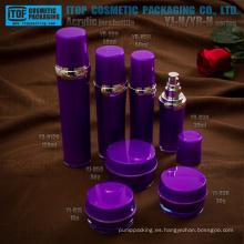 Elegante fabulosa alta calidad hermoso redondo tambor forma lujo acrílico cosméticos envases tarro y botella de plástico