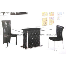 Modern Crocodile Leather Dining Table and Chair