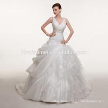 New design slim-line deep v-neck see through laced sexy colorful muslim wedding dress