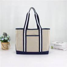 Eco-Friendly Large Jute Women Tote Handbag Cotton Leather Tote bag