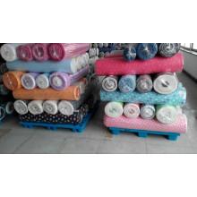 bulk stock lots printed flannel fabric Hanlin Textile China wholesaler