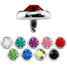 316L Surgical Stainless Steel CZ Stone Dermal Anchor Tops Customized Skin Diver Piercing