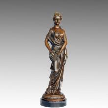 Женский Арт-Рисунок бронзовая скульптура винограда Леди Латунь статуя ТПЭ-547
