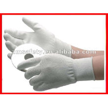 White nylon glove with pu coating for clean room