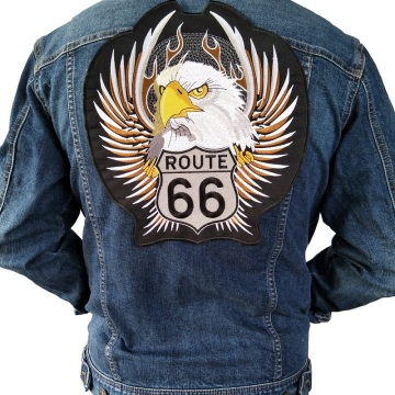 Insignia de parches bordados de motocicleta Eagle Route 66