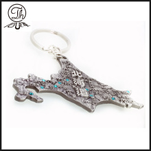 Cool 3D Japanese Map diamond keyrings metal
