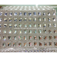 Hot-Fix Rectangle Rhinestone Mesh Trimming, Diamante Net