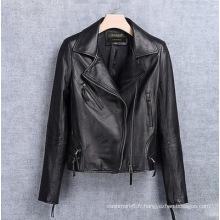 Veste de moto en cuir véritable pour femme