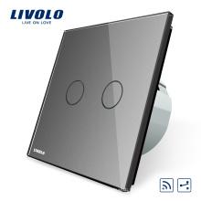 Livolo Smart Switch EU standard Gris De Luxe Cristal Panneau De Verre 2Gang 2 Voies Télécommande Sans Fil Contrôlée Interrupteur mural 220v