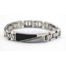 Stainless steel mens chain link black enamel bracelets with crystal