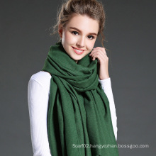 Women in Winter to Keep Warm Plain Green Polyester Scarf