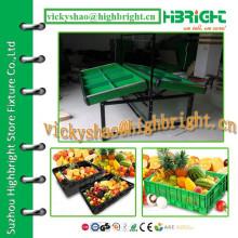 Doppelseitiger Metall-Supermarkt-Gemüse-Rack mit verstellbarem Regal