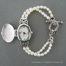 Montre perle d'eau douce, perle montre-bracelet (WH111)