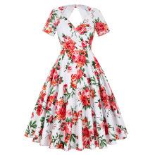 Belle Poque Stock Short Sleeve Hollowed Back Retro Vintage 50s Floral Print Cotton Pinup Dress BP000028-6