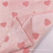 Tela de franela de punto de poliéster de flor de corte rosa elegante