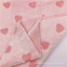 Elegant Pink Cut Flower Polyester Knitted Flannel Fabric