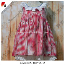 wholesale boutique red gingham lace dress